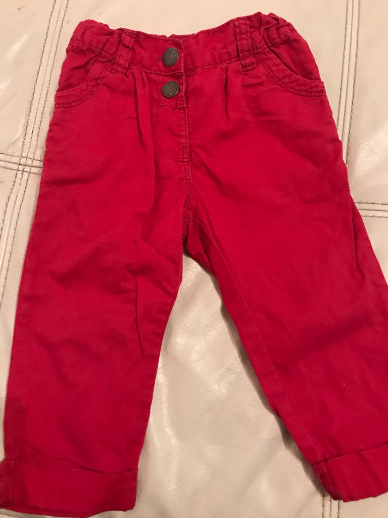 9-12months red adjustable cotton trousers