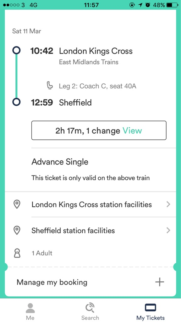 Return ticket London to Sheffield