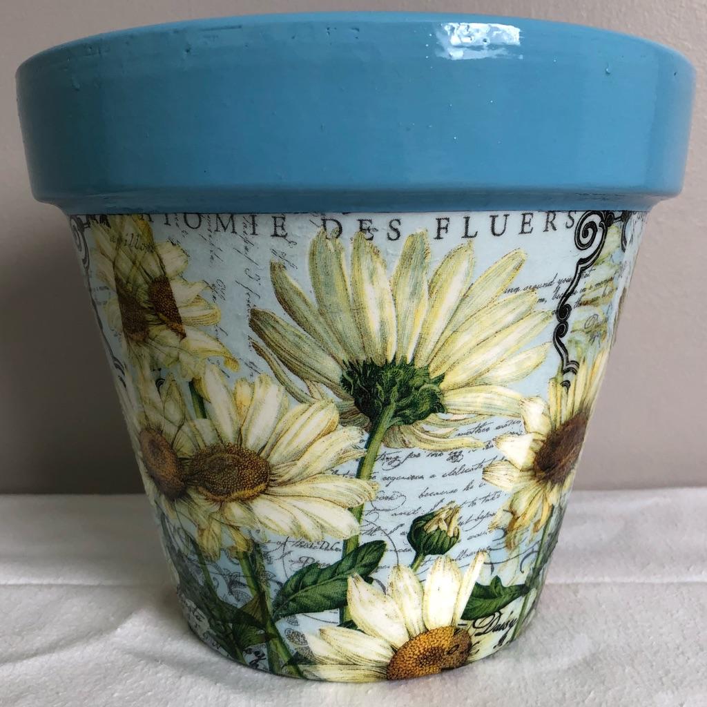 Handmade Decoupaged Terracotta Plant Pot