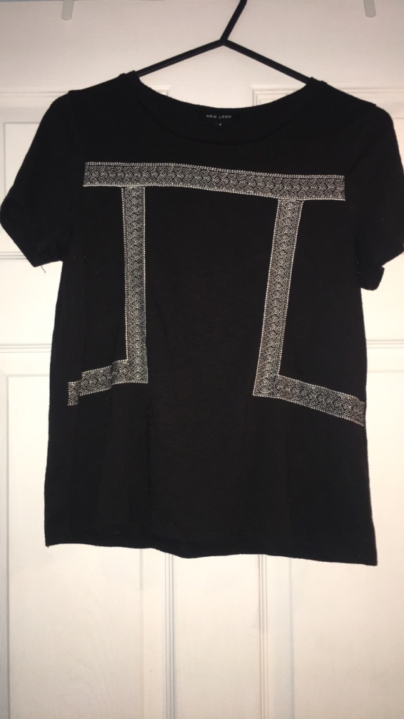 Embroidered black newlook top