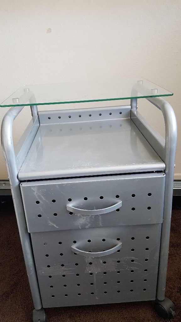 Metal two drawers filing cabinet with glass top and wheels