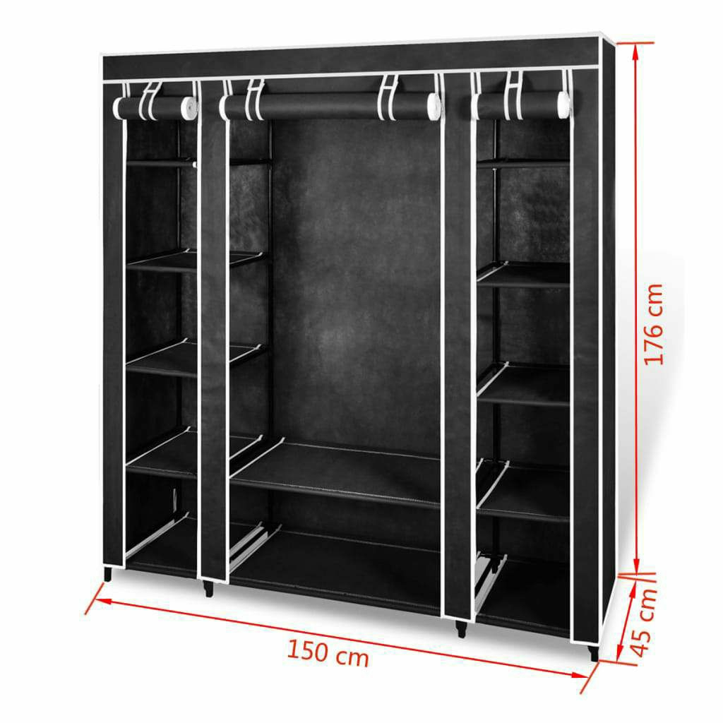 Fabric Wardrobe with Compartments and Rods 45x150x176 cm Black  £44.99