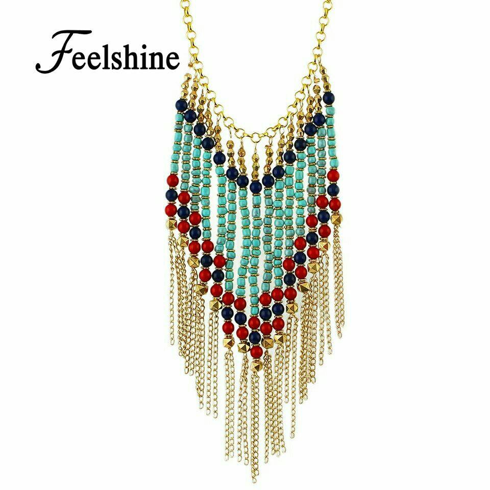 Goldtone w/Multi Color Bead Bib Necklace