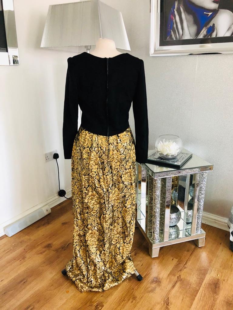 Women's Black gold vintage maxi dress size 12