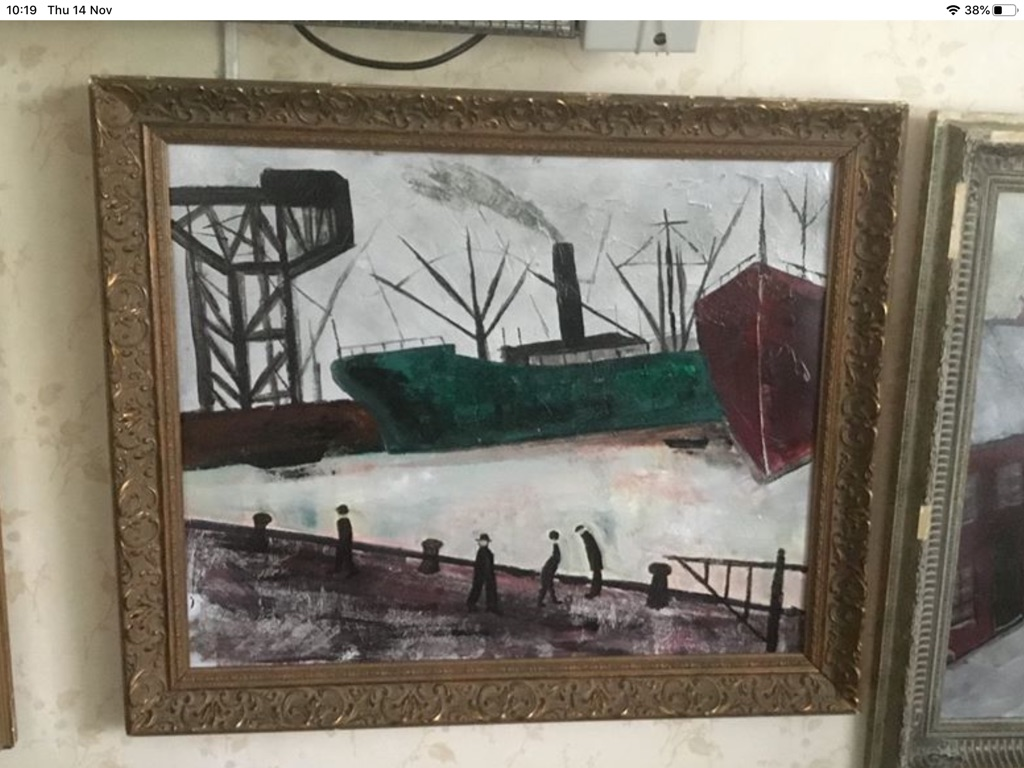 Ship building site oil painting on canvas 26in 31in
