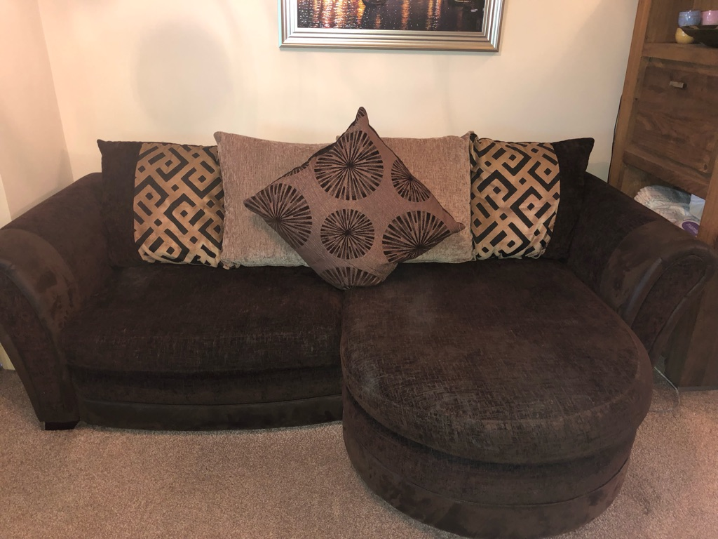 DFS large brown sofa and swivel chair