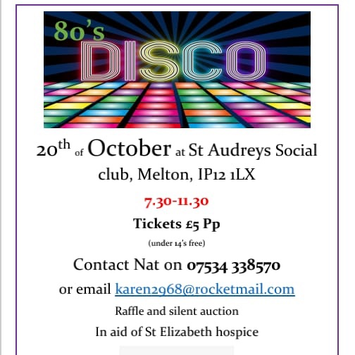 80s Disco St Audreys Sports & Social club, 20th October