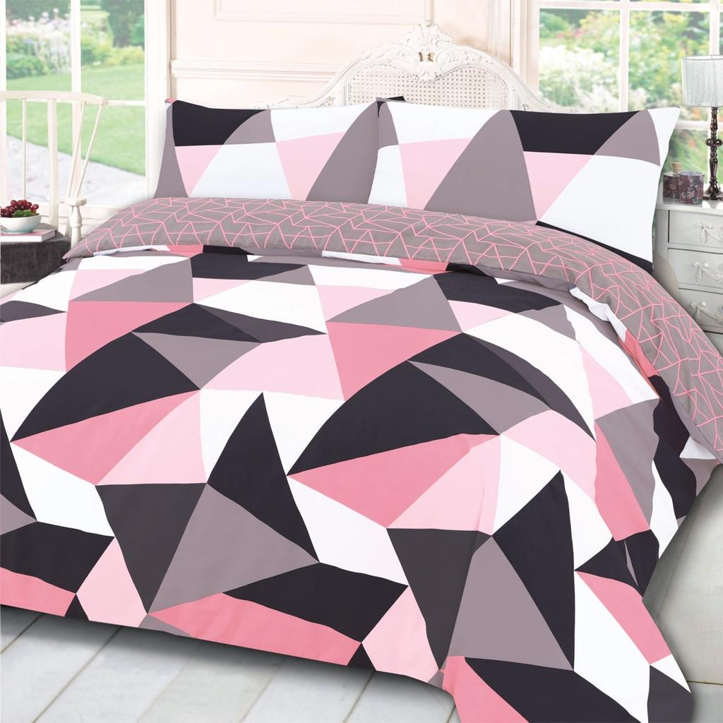 Geometric Shapes Duvet Cover Set - Blush Pink
