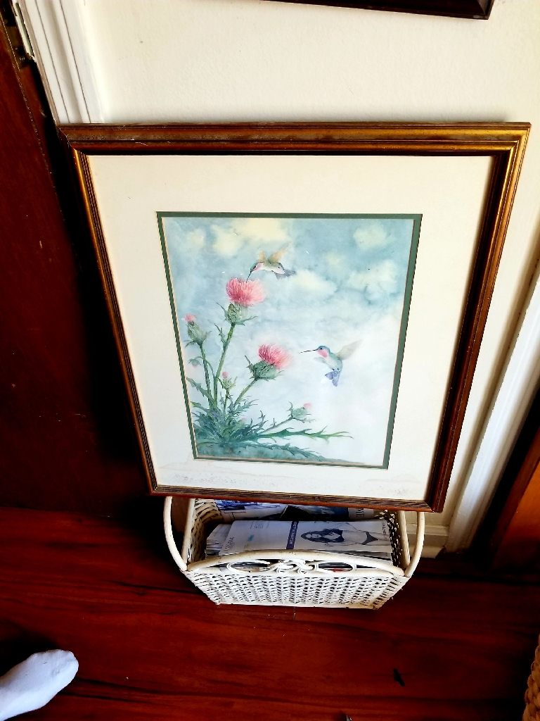 Hummingbird and Pink Flowers framed and matted print