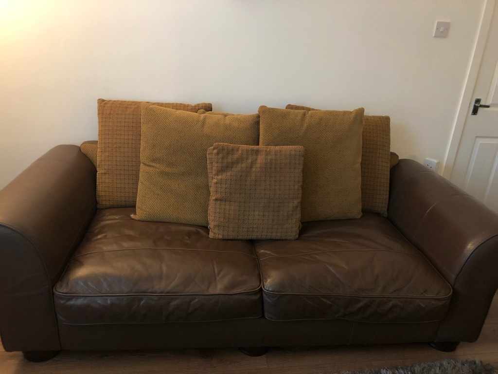 3 seater and 2 seater leather brown sofas