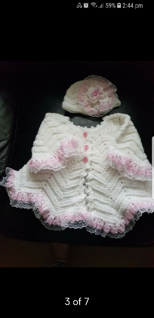 Ricrac hand crocheted jacket and beanie