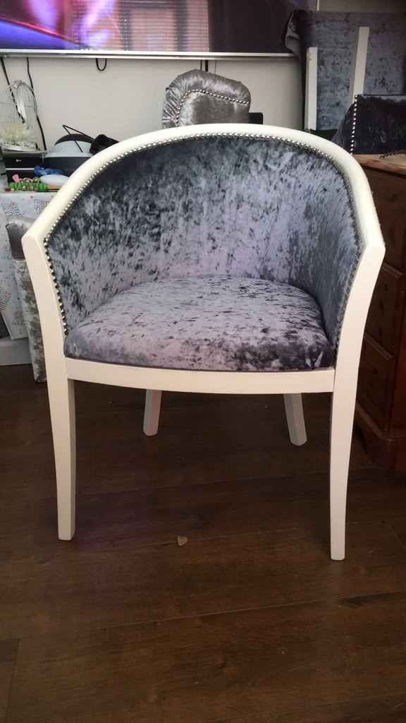 Slate grey crushed velvet silver beaded chair