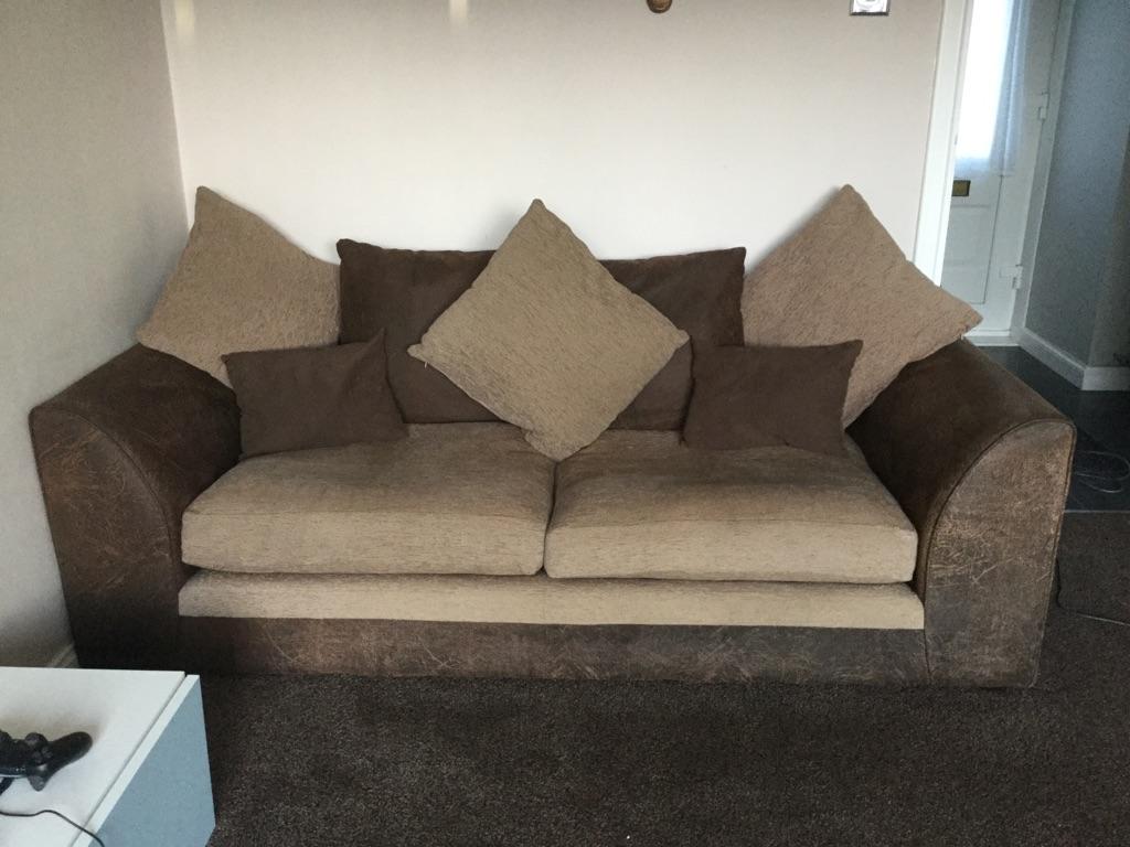 2 x sofas in brown/cream