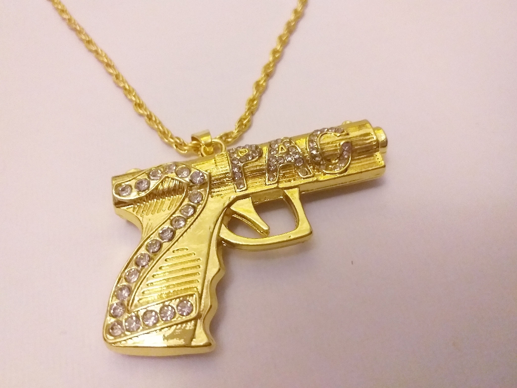 Pistol necklace pendant with chain