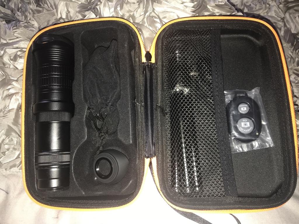 Mobile telescope, camera lens and the telescope holder