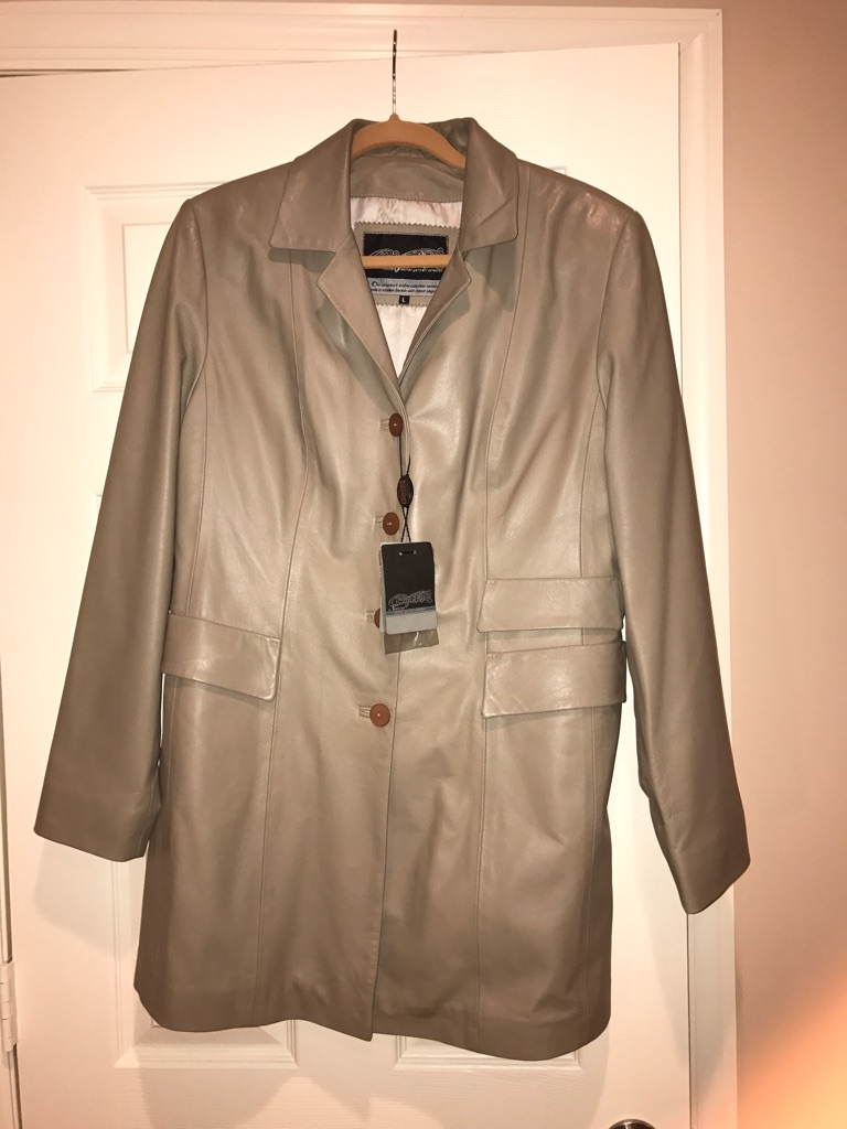 Taupe Leather Woman's Jacket