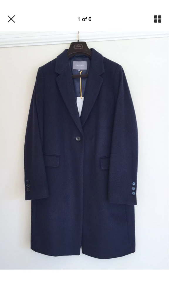 Jaeger Ladies Navy Wool Coat