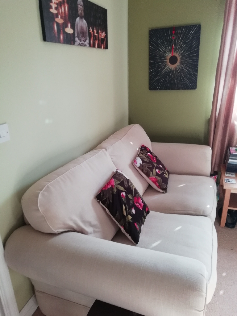 Cream Two Seater Sofa (+Sofa bed)
