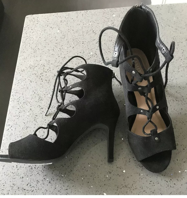 M&S Limited Edition Black Faux Suede Laced Heeled Sandals Shoes Size 6 39.5 £35