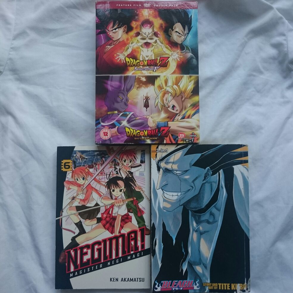 Manga and Anime! One Negima Vol with 3 Bleach volumes and 2 Dragon Ball movies
