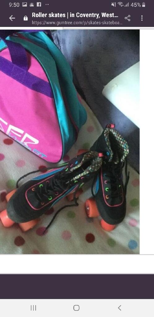Roller skates and bag