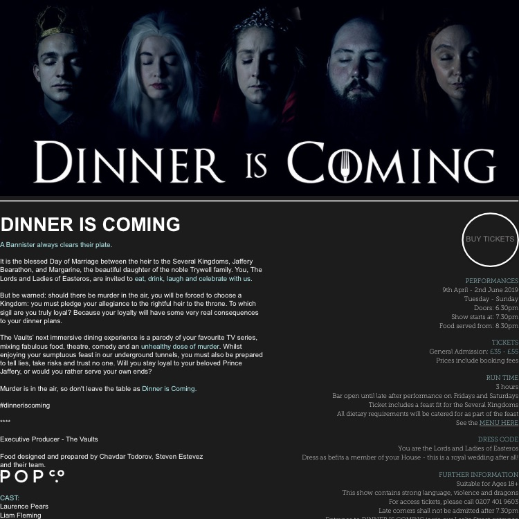 2 tickets to Game of Thrones immersive dining experience