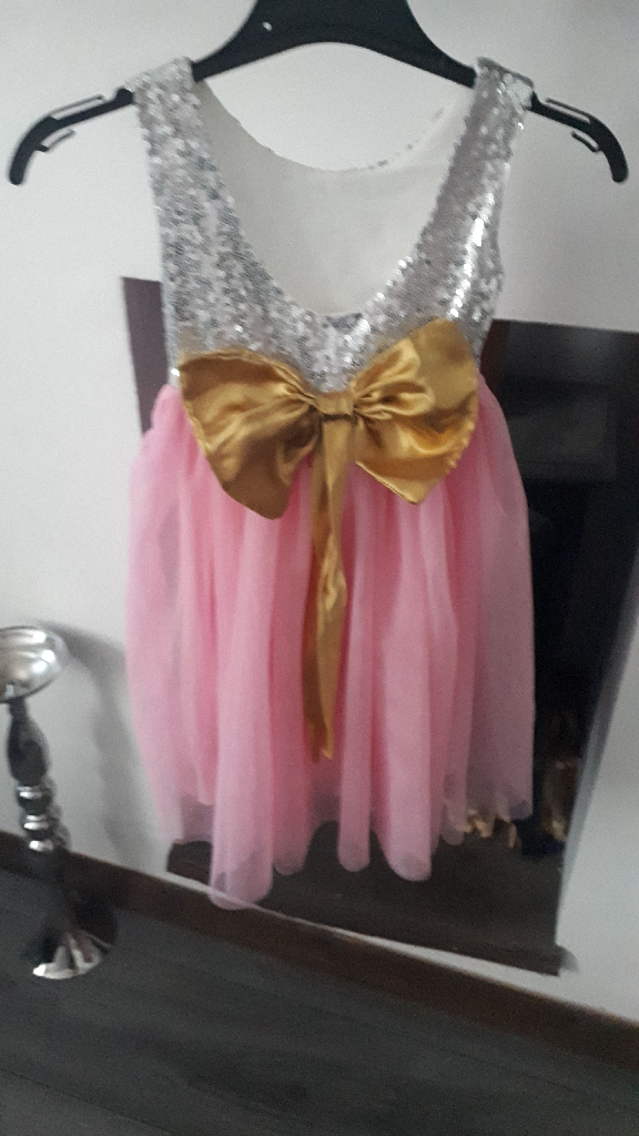 AGE 4 SILVER SEQUIN BOW DRESS NWT