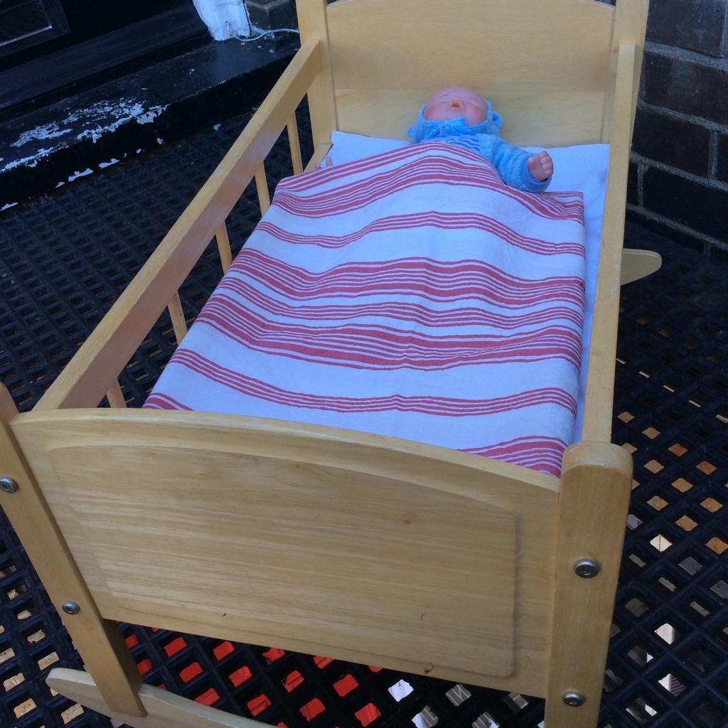 Doll wooden rocking crib