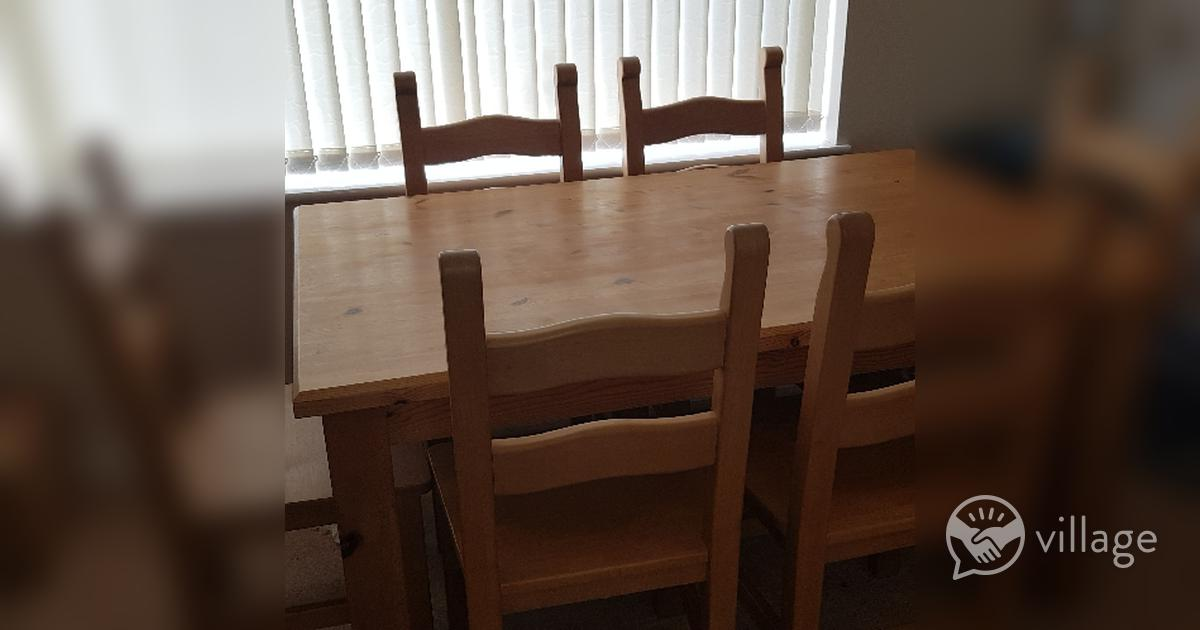 Solid Pine Dining Table Chairs Village