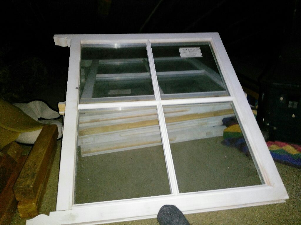 3 wooden sash double glazed windows with lead weights