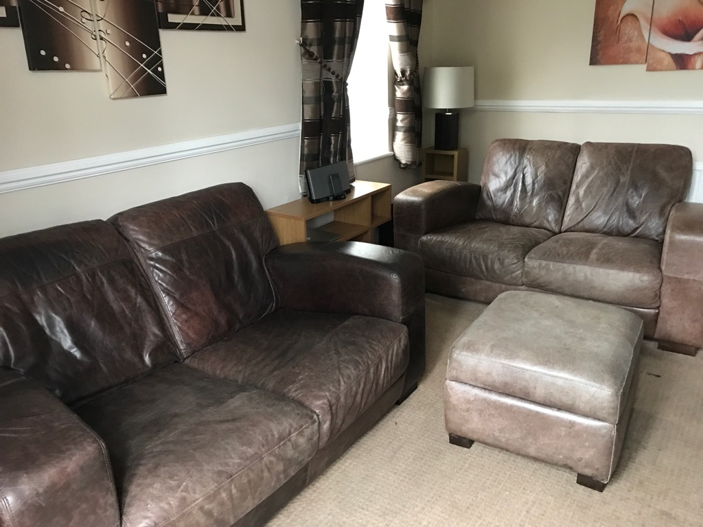 Brown leather sofas x 2 and stool