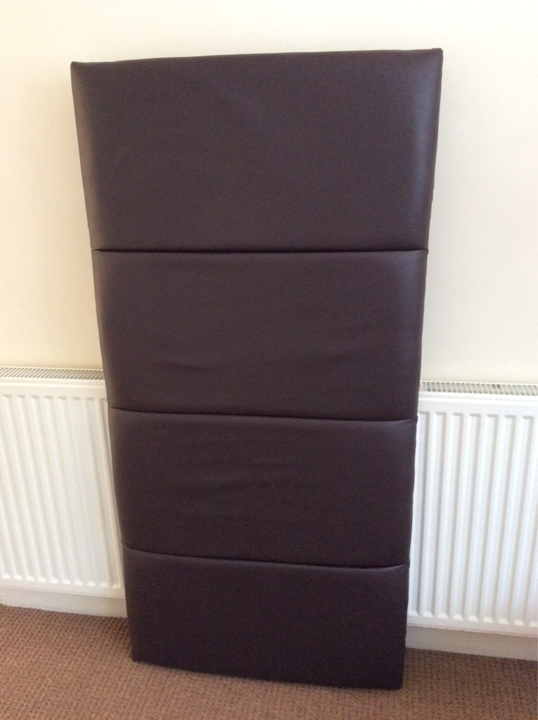 Headboard for double bed in brown Faux Leather.