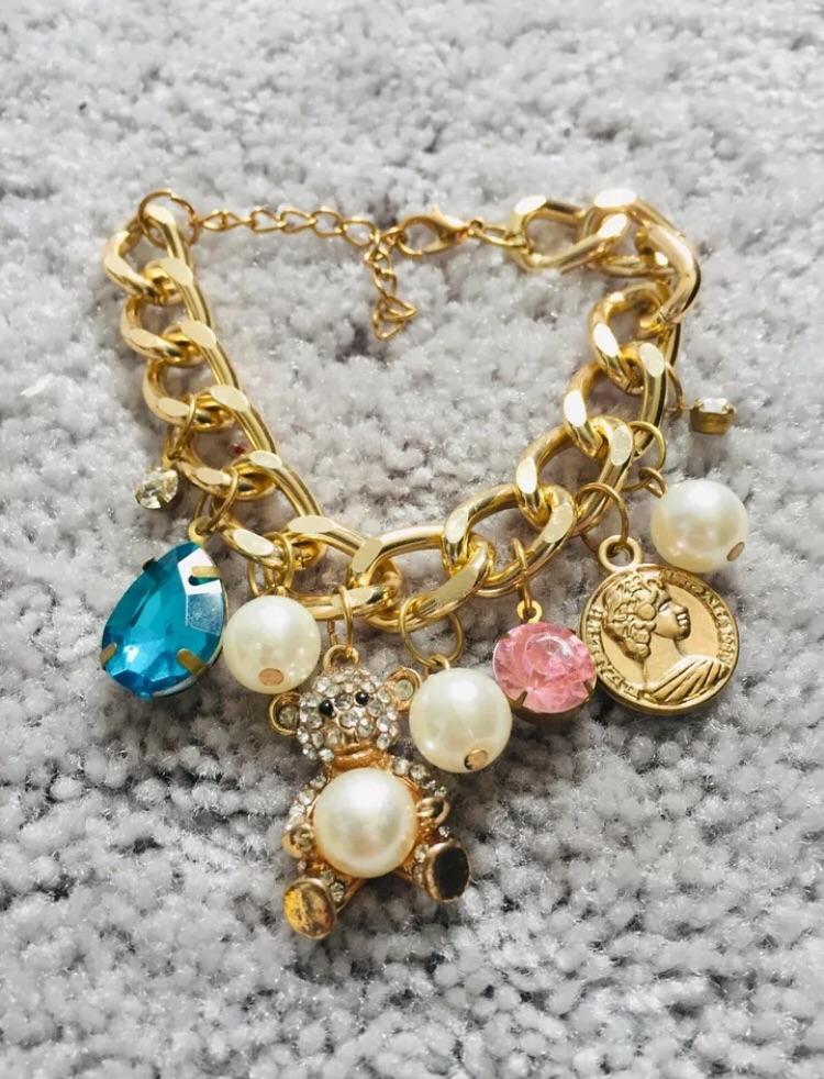Ladies gold plated charm bracelet