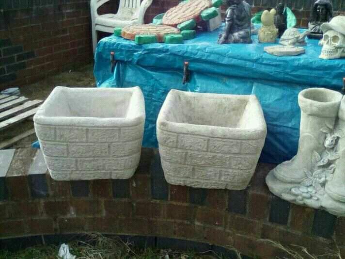 Concrete garden planters pots