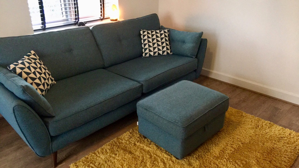 French Connection Zinc 4 Seater Sofa and Storage Footstool