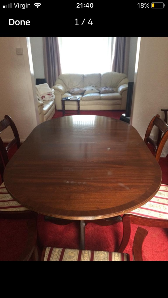 Mahogany dining table with six chairs