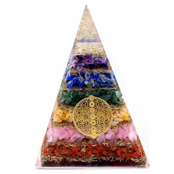 Orgonite Pyramid - Seven Chakra Flower of Life