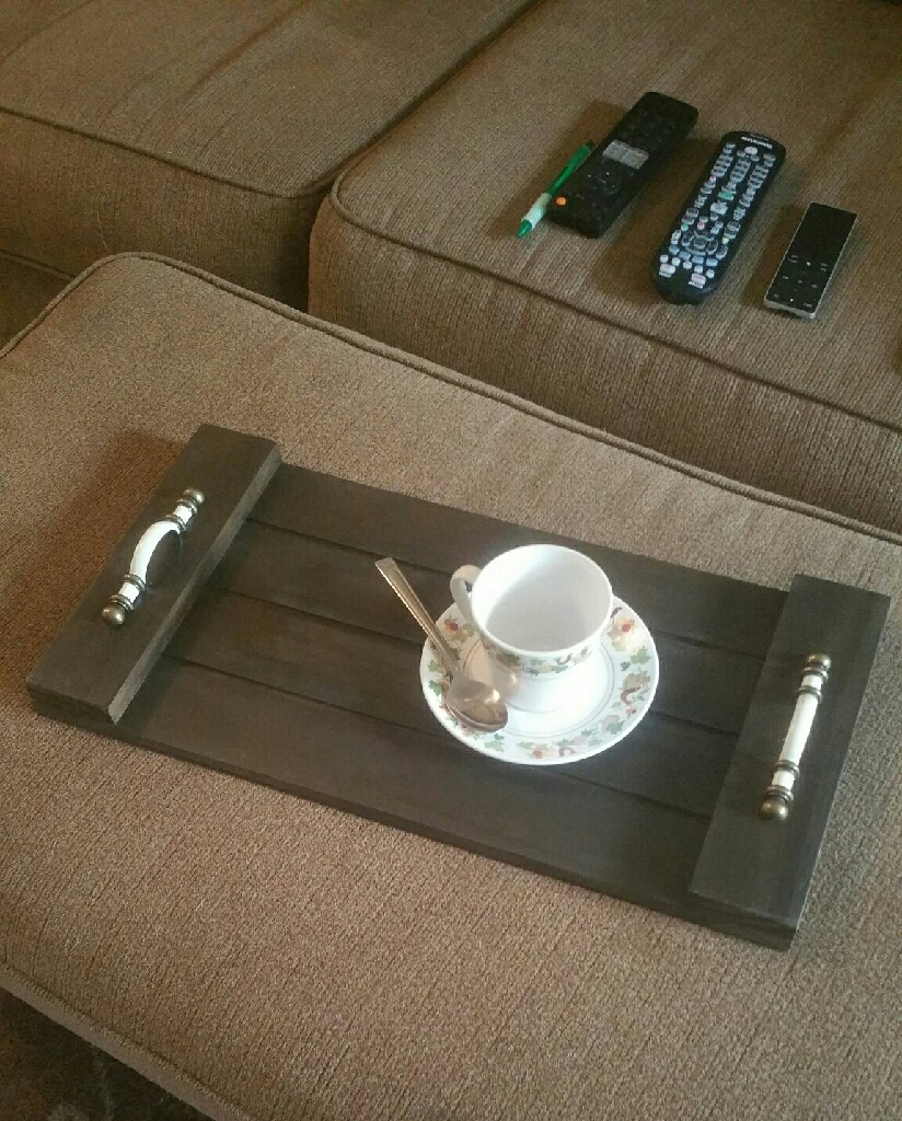 Handmade & stained wooden serving tray