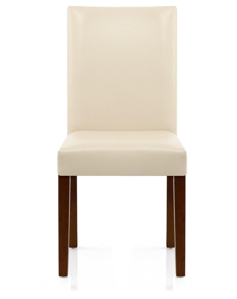 4 X Brand New Cream Leather/Walnut Leg Dining Chairs