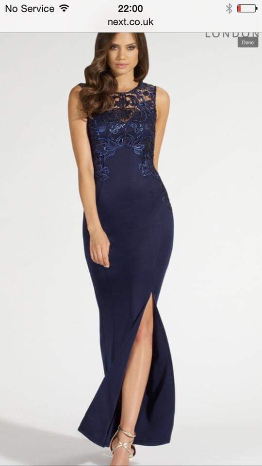 Lipsy Fishtail Blue Foiled Lace Evening Gown