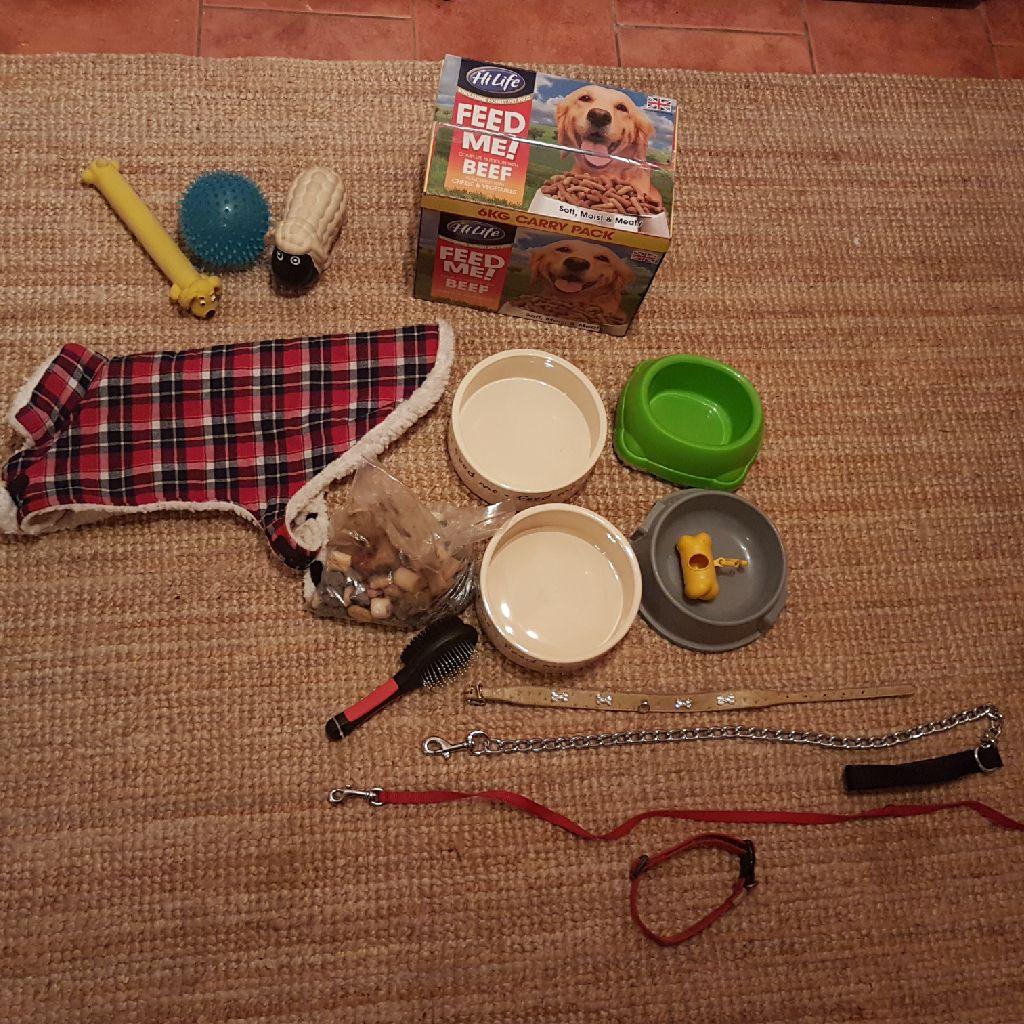 Dog supplies - warm jumper bowls collars leads brush travel bowls bag holder toys treats food