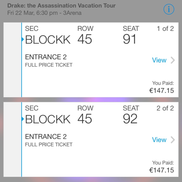2 drake tickets £130 EACH