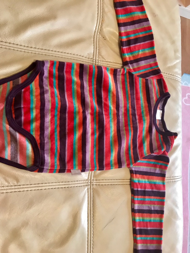 12-18 months striped velour bodysuit
