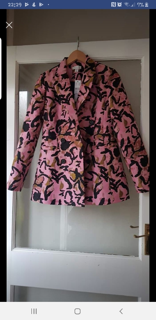 Pink Topshop trousers and jacket