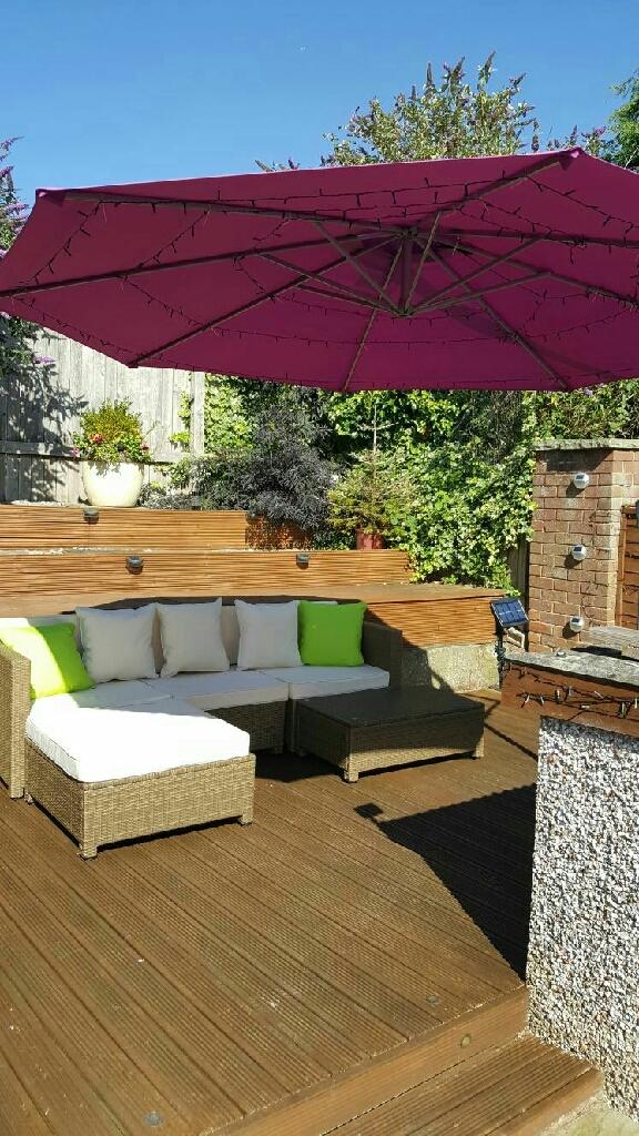 Rattan garden furniture.