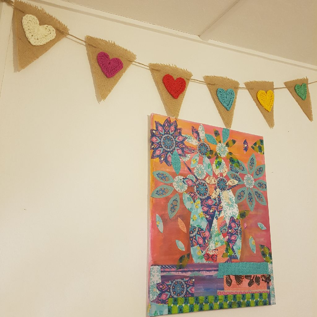 Crocheted heart bunting