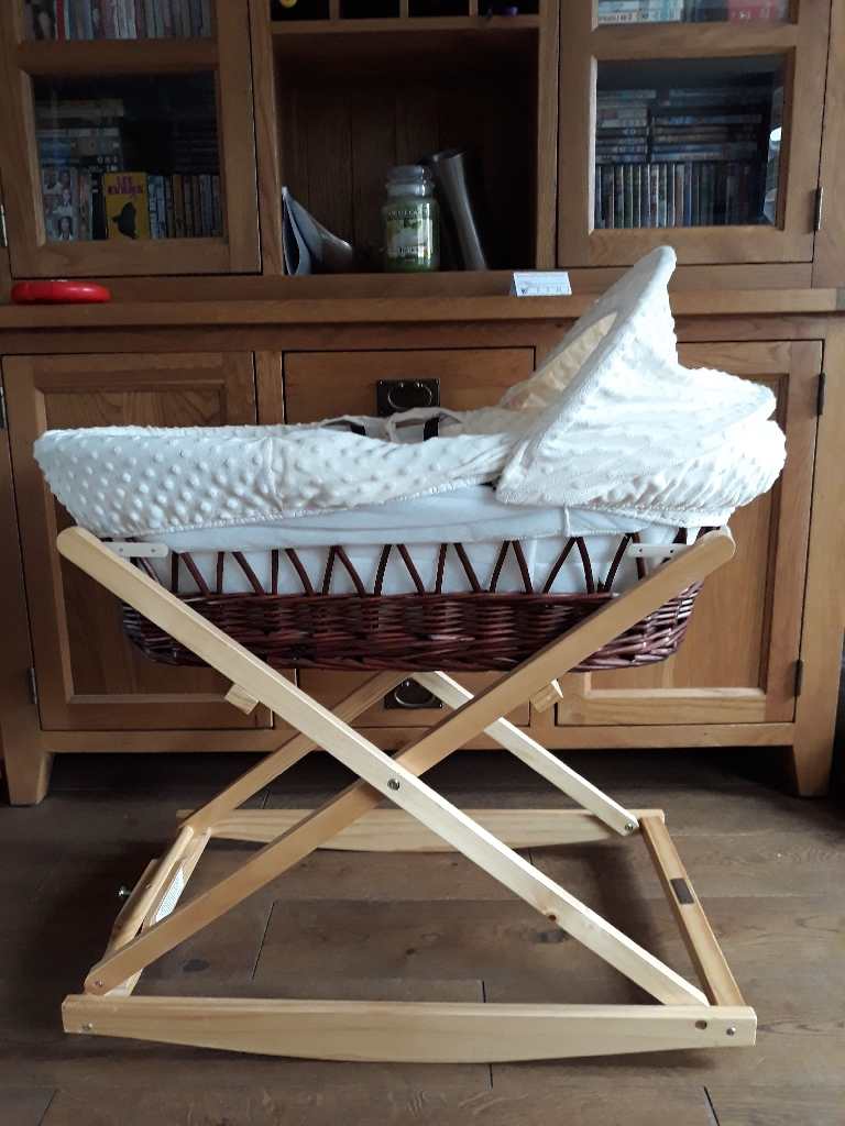 Dark wicker Moses basket and stand