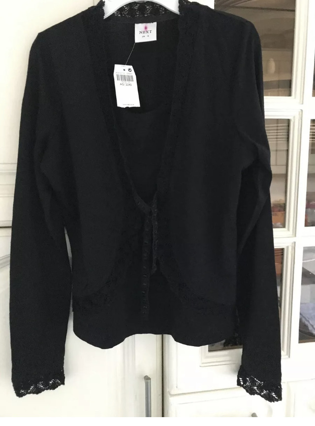 NEXT Black Fine Knit Wool & Acrylic Mix Crochet Lace Trimmed Top Size 12 NWT