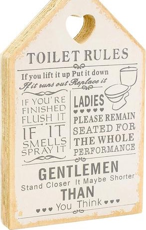 Wooden signs shabby chic toilet rules novelty hanging bathroom white plaque