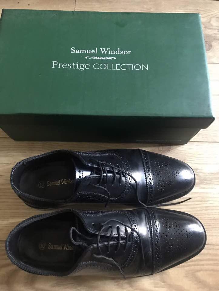 Men's Brogues Black UK 10 Samuel Windsor Leather